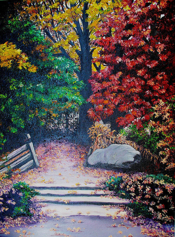 A N Original Painting Of An Autumn Scene In The Gateneau In Quebec Art Print featuring the painting Fall In Quebec Canada by Karin Dawn Kelshall- Best