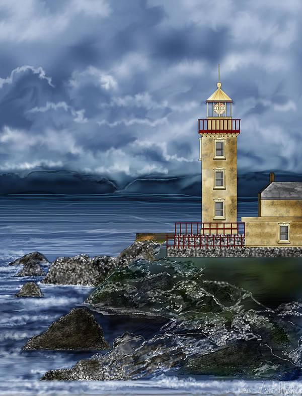 Lighthouse Art Print featuring the painting Fanad Head Lighthouse Ireland by Anne Norskog