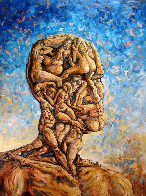Surrealism Art Print featuring the painting Fantasies of a 120 years old man struggling to survive by Darwin Leon
