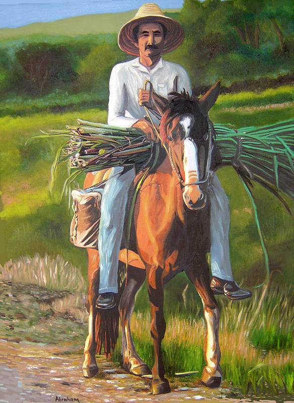 Cuban Art Art Print featuring the painting Farmer On A Horse by Jose Manuel Abraham