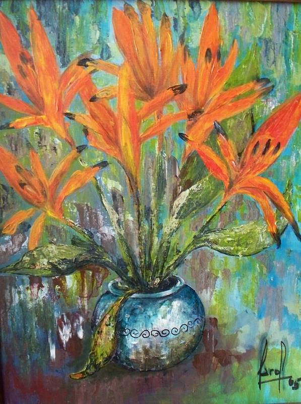 Art Print featuring the painting Fire Flowers by Carol P Kingsley