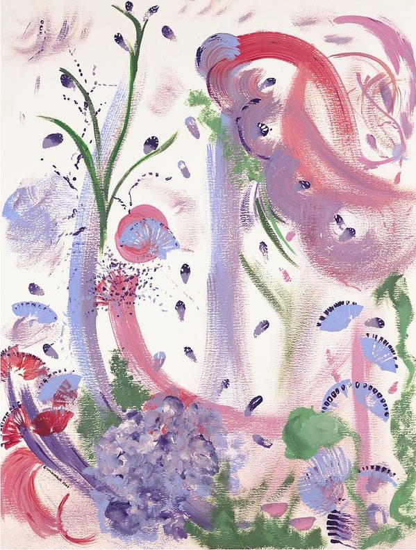 Flowers Art Print featuring the painting Flowers And Swirls by Nancy Brockett
