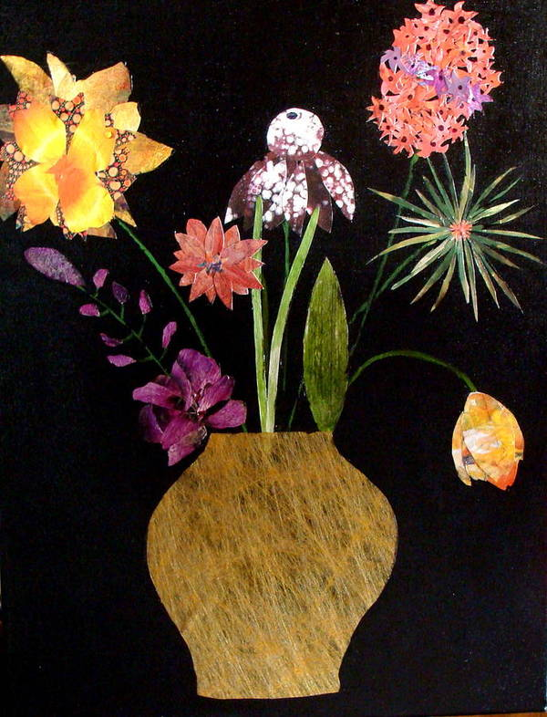 Collage Art Print featuring the mixed media Flowers in a Gold Vase by Lisabeth Billingsley