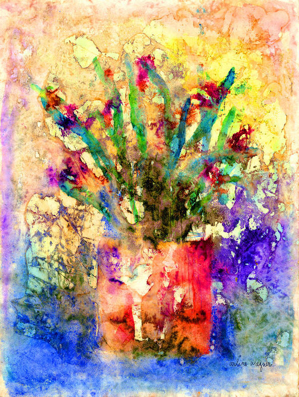 Flower Art Print featuring the mixed media Flowery Illusion by Arline Wagner