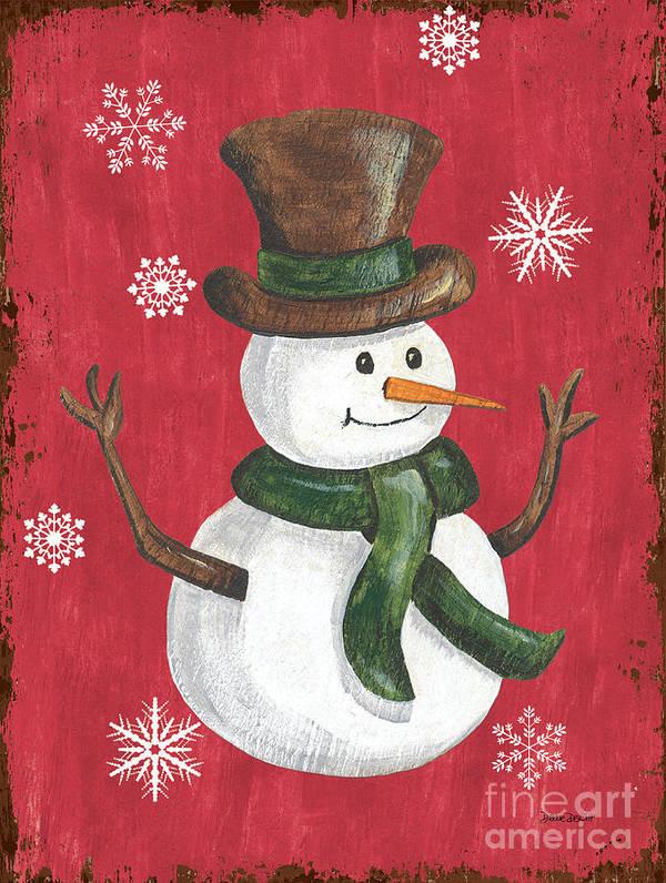 Snowman Art Print featuring the painting Folk Snowman by Debbie DeWitt