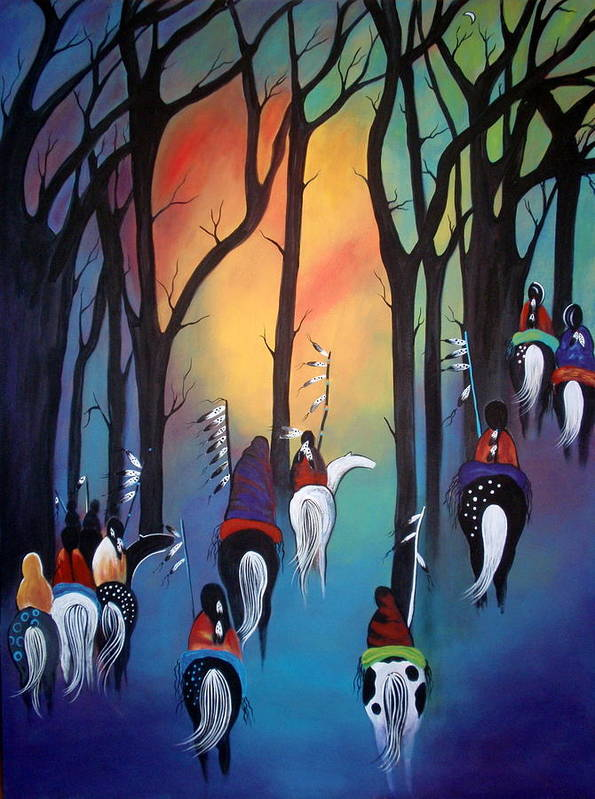 Native Americans Art Print featuring the painting Following the trail of the ancestors by Jan Oliver-Schultz