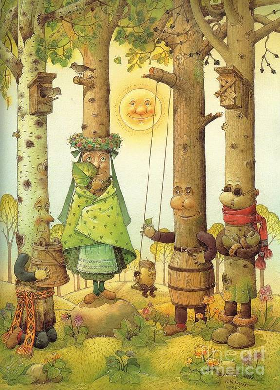 Landscape Tree Forest Green Fairy Tales Sun Spring Art Print featuring the painting Four Trees by Kestutis Kasparavicius