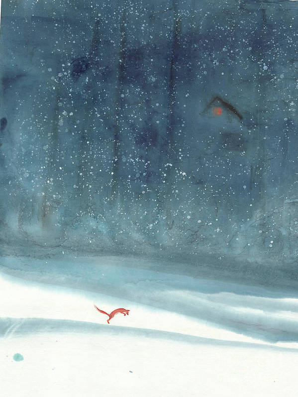 A Playful Red Fox On A Snowy Day Art Print featuring the painting Fresh Snow by Mui-Joo Wee