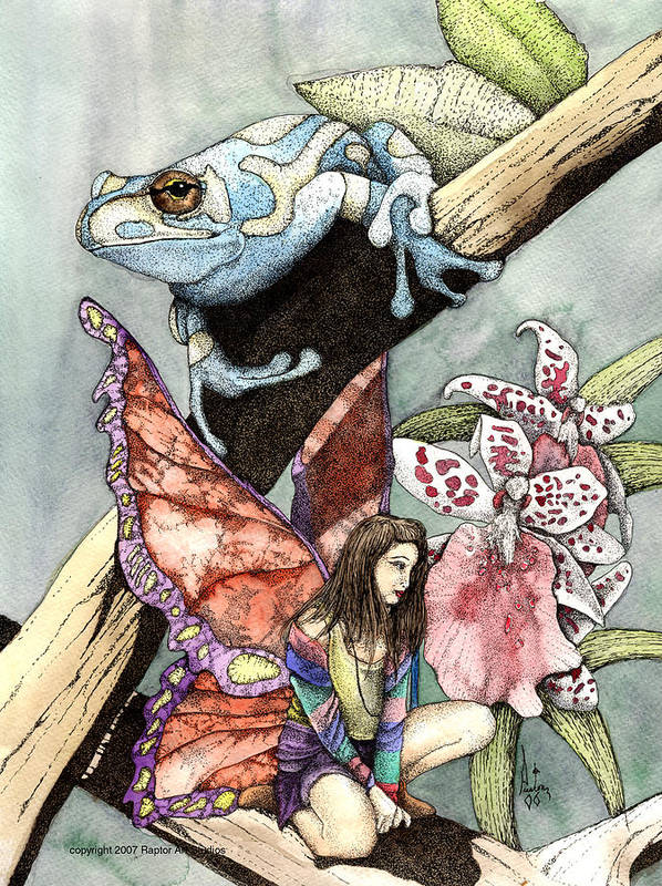 Fairy Faery Dragons Demon Fantasy Art Amy Brown Wizards Magic Pagen Art Print featuring the mixed media Frog Flowers And A Fairy by Preston Shupp