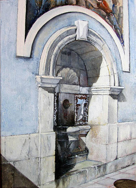 Fuente Art Print featuring the painting Fuente Castro Urdiales by Tomas Castano