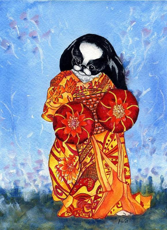 Japanese Chin Art Print featuring the painting Geisha Chin by Kathleen Sepulveda