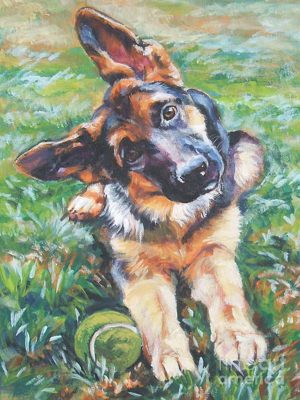 Dog Art Print featuring the painting German shepherd pup with ball by Lee Ann Shepard