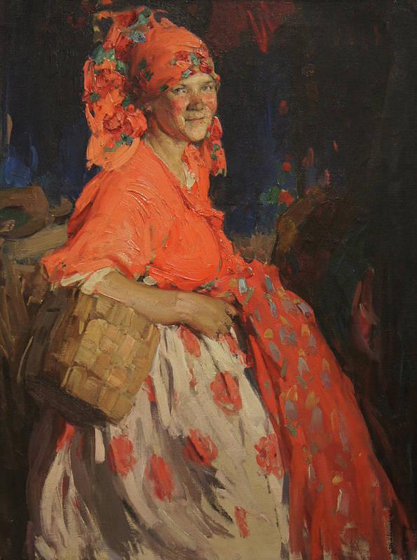 Abram Arkhipov Art Print featuring the painting Girl by Abram Arkhipov