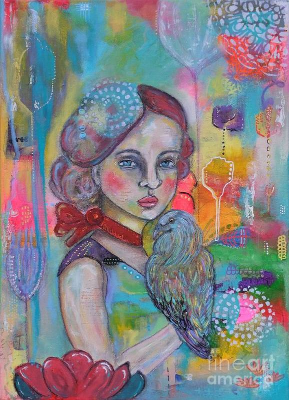 Girl With Nicobar Bird Art Print featuring the painting Girl with Nicobar bird Original Canvas Painting by Cristina Parus