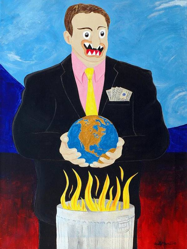Animals Art Print featuring the painting Global Warming Truth by Sal Marino
