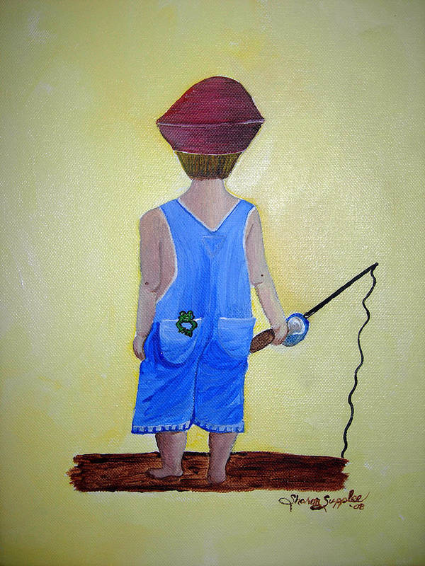 Fishing Art Print featuring the painting Gone Fishing 2 by Sharon Supplee