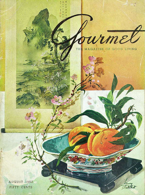 Food Art Print featuring the photograph Gourmet Cover Featuring A Bowl Of Peaches by Henry Stahlhut