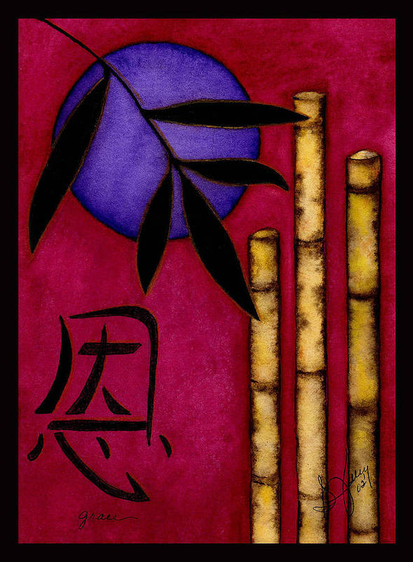 Bamboo Art Print featuring the painting Grace - The Art of Balance by Stephanie Jolley