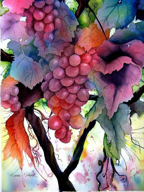 Grape Art Print featuring the painting Grapes III by Karen Stark