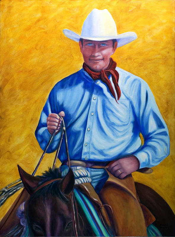 Cowboy Art Print featuring the painting Happy Trails by Shannon Grissom