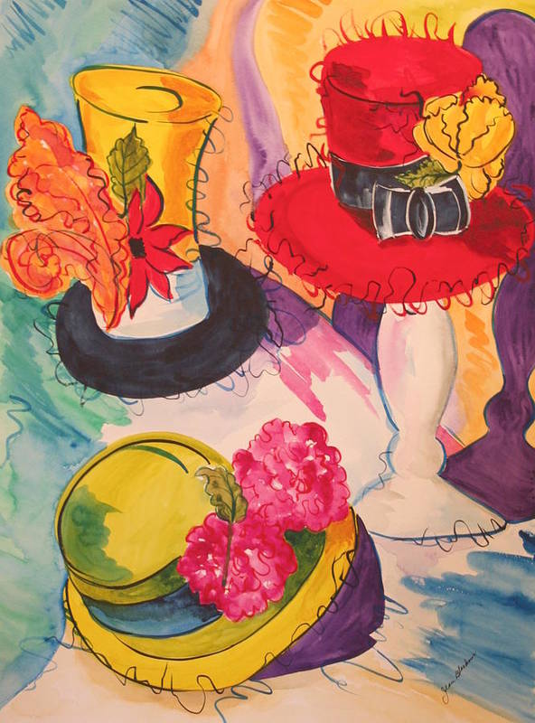 Hats Art Print featuring the painting Hats on Parade by Jean Blackmer