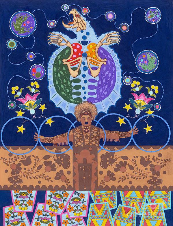Native American Art Print featuring the painting Healing - nanatawihowin by Chholing Taha