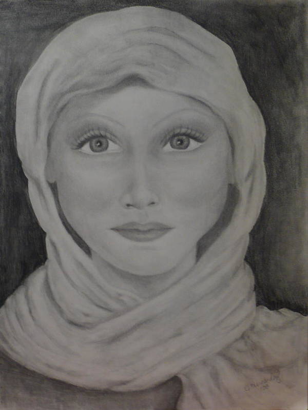 Portrait Art Print featuring the drawing Her by Jennifer Hernandez