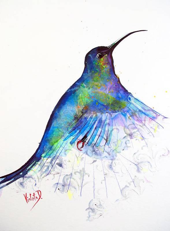 Hummingbird Art Print featuring the painting Hummingbird 11 by Violeta Damjanovic-Behrendt