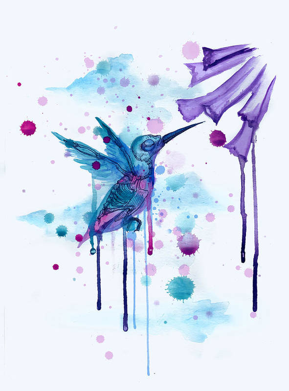 Hummingbird Art Print featuring the drawing Hummingbird Skeleton 2.0 by Ludwig Van Bacon