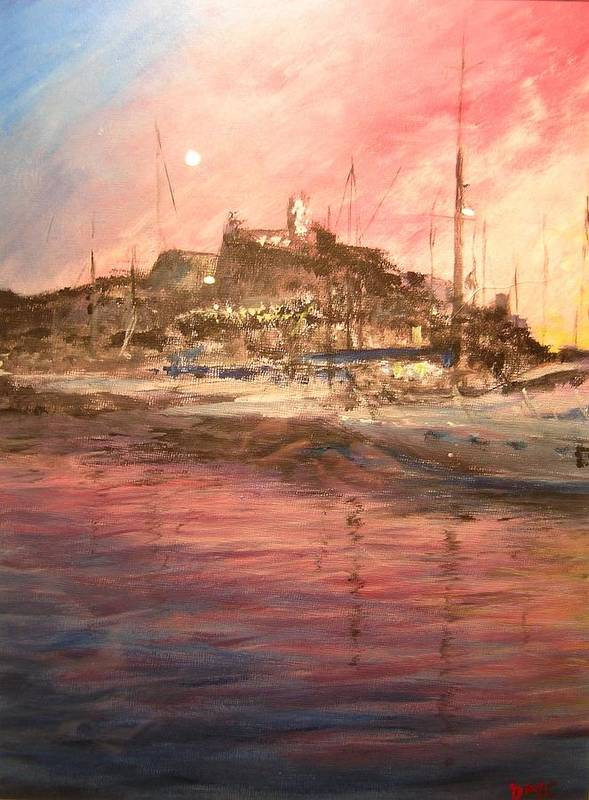 Yachts Art Print featuring the painting Ibiza Old Town At Sunset by Lizzy Forrester