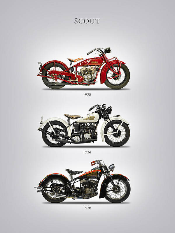 Indian Scout Art Print featuring the photograph Scout Trio by Mark Rogan