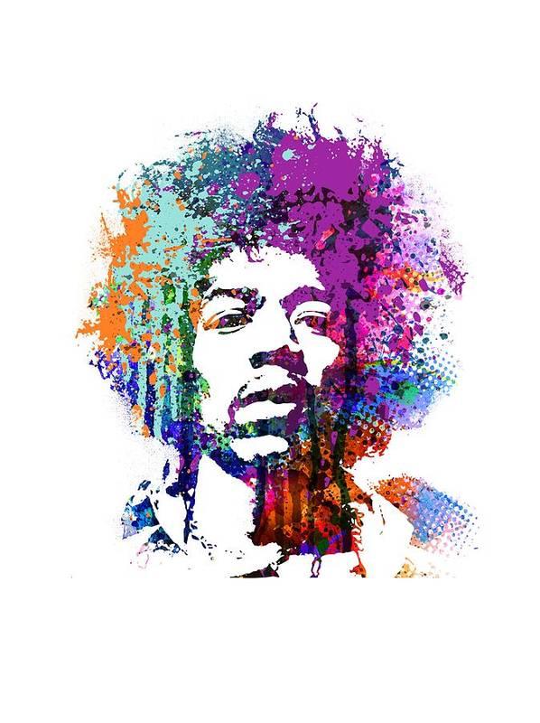 Jimi Art Print featuring the mixed media Jimi Hendrix by Art Popop