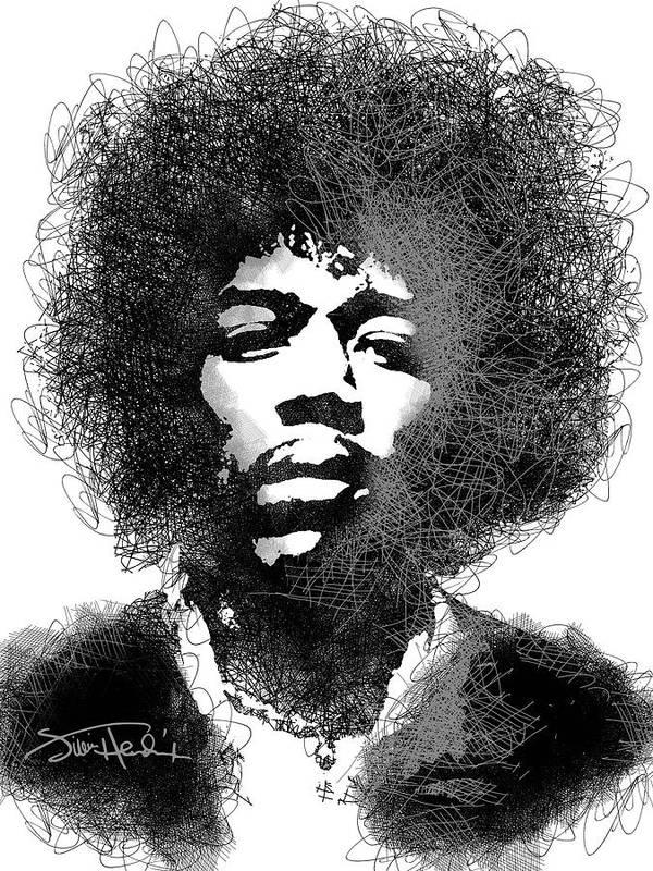 Jimi Hendrix Art Print featuring the digital art Jimi Hendrix sketch pen portrait by Mihaela Pater
