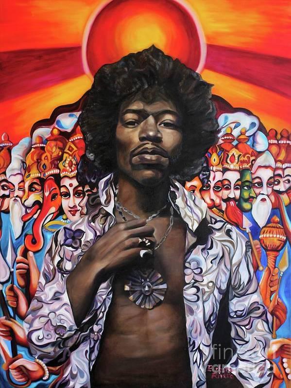 Jimi Hendrix Art Print featuring the painting Jimi Transcendence by Barbara Rivera