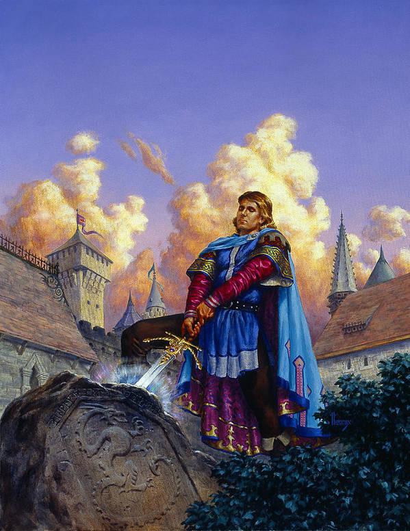 Arthur Art Print featuring the painting King Arthur by Richard Hescox