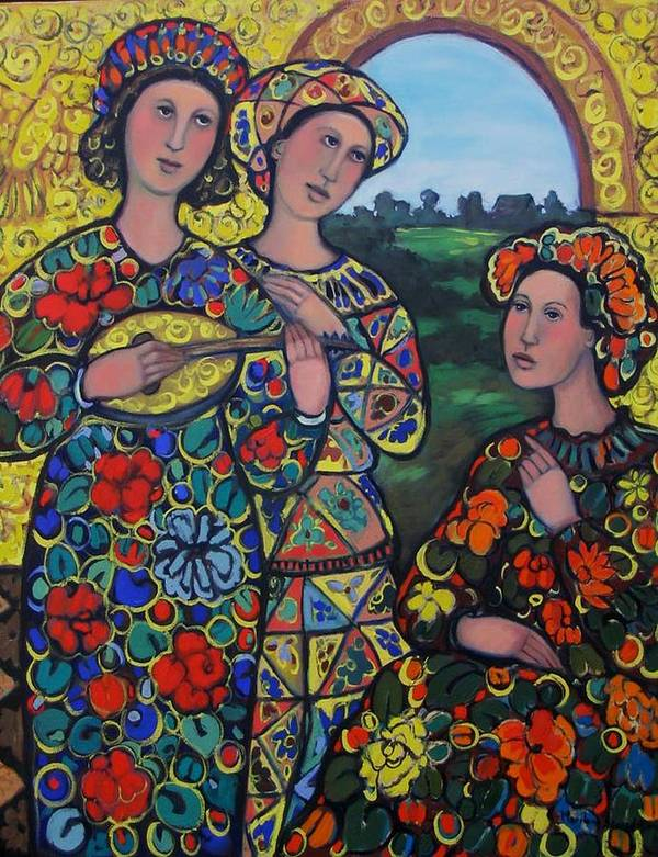 Arlequin Art Print featuring the painting Ladies And The Arlequin by Marilene Sawaf