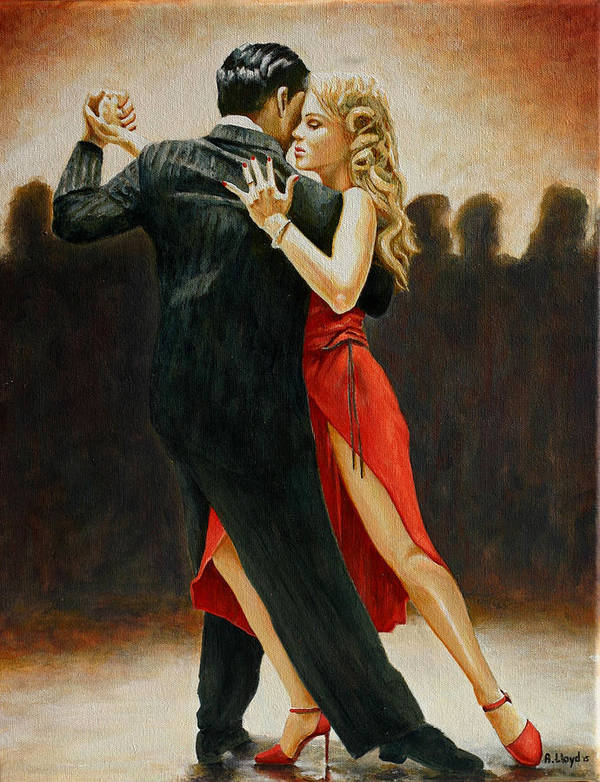 Dancers Red Dress Blonde Couple Dance Latin Tango Red Shoes Heels Light Art Print featuring the painting Lady in Red by Andy Lloyd