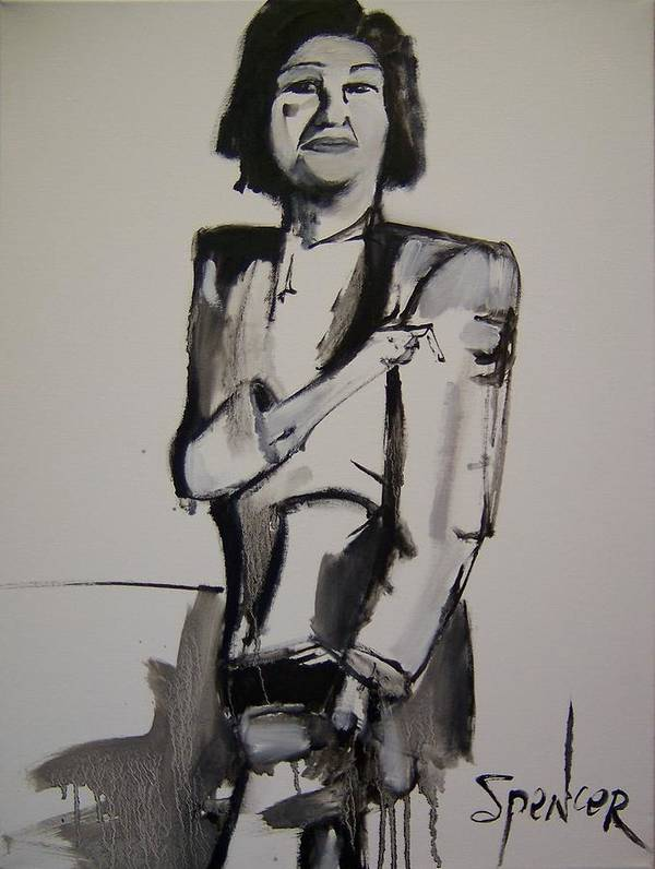 Black White Figure Figurative Woman Lady Female Loose Gestural Galka The Blue Four Simple Modern Art Print featuring the painting Ladyfinger by Scott Spencer