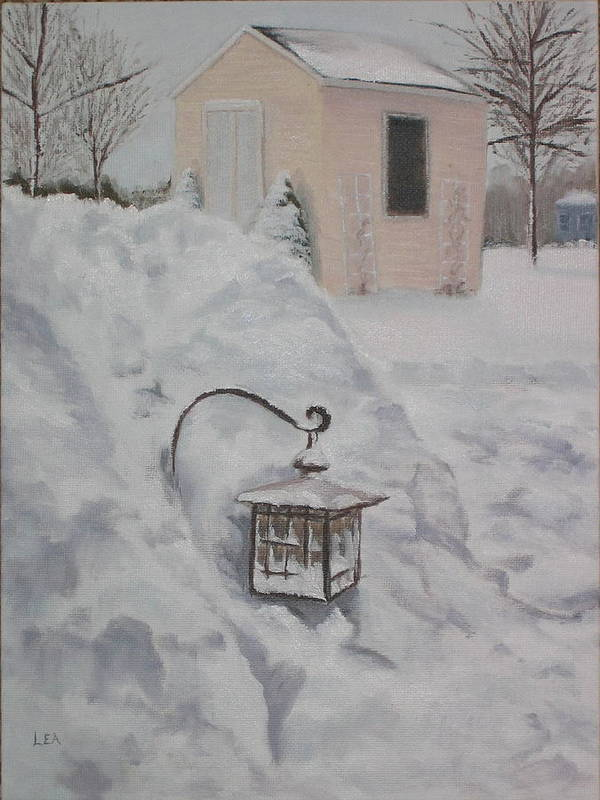 Snow Art Print featuring the painting Lantern in the Snow by Lea Novak