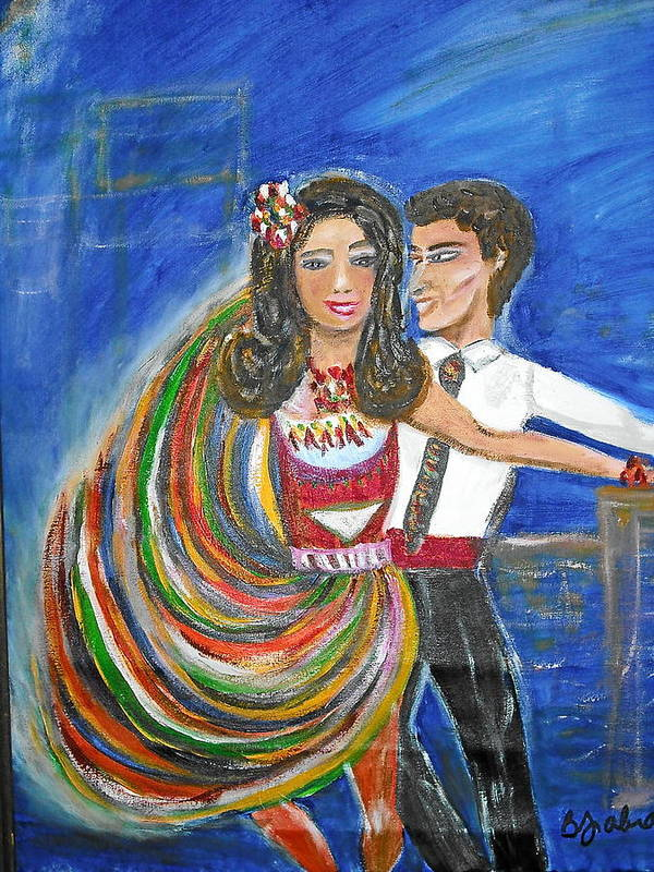 Dancers Art Print featuring the painting Latin Dancers 11 by BJ Abrams