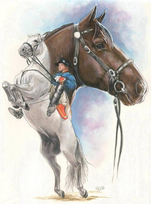 Spanish Riding School Art Print featuring the mixed media Lippizaner by Barbara Keith