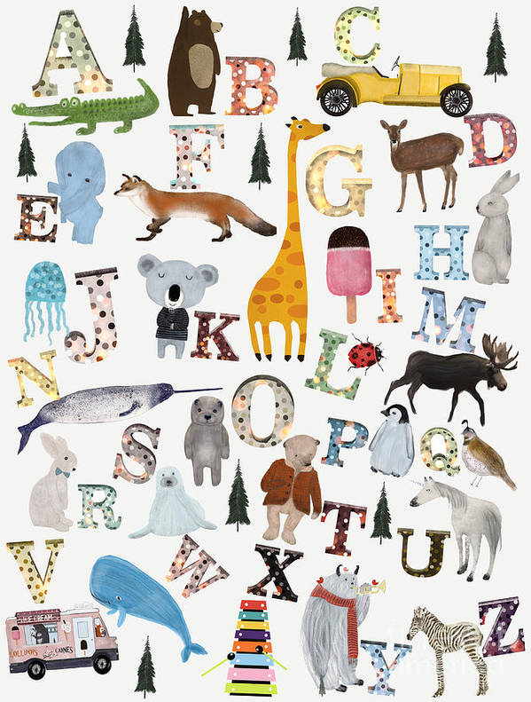 Animals Art Print featuring the painting Little Nature Alphabet by Bri Buckley