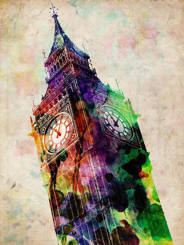 London Art Print featuring the digital art London Big Ben Urban Art by Michael Tompsett