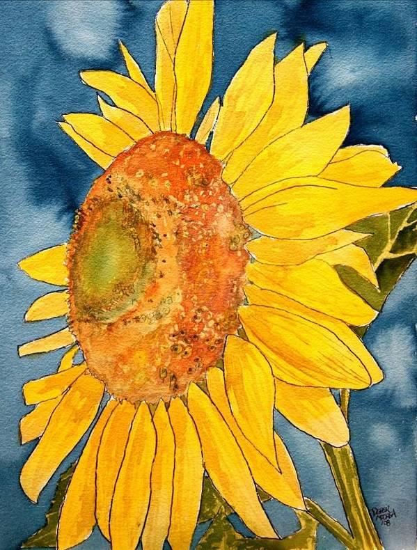 Sunflower Art Print featuring the painting Macro Sunflower Art by Derek Mccrea