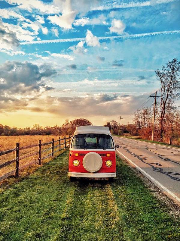 Vw Art Print featuring the photograph Magic Hour Magic Bus by Andrew Weills