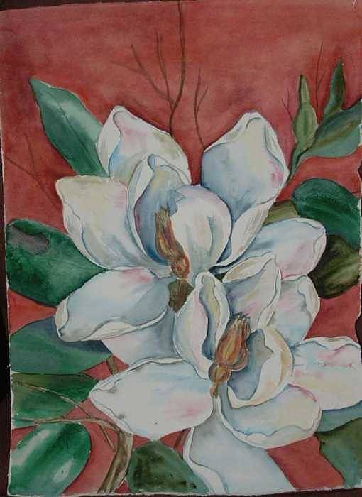 Watercolor Art Print featuring the painting Magnolia five by Diane Ziemski