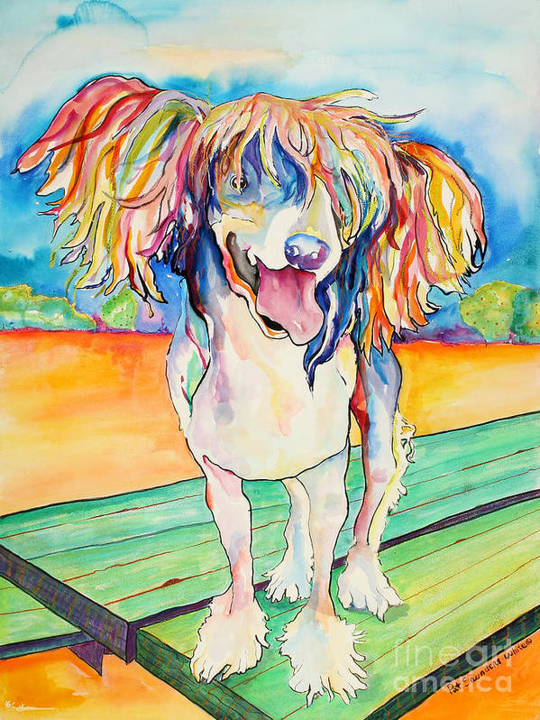 Chinese Crested Art Print featuring the painting Mango Salsa by Pat Saunders-White