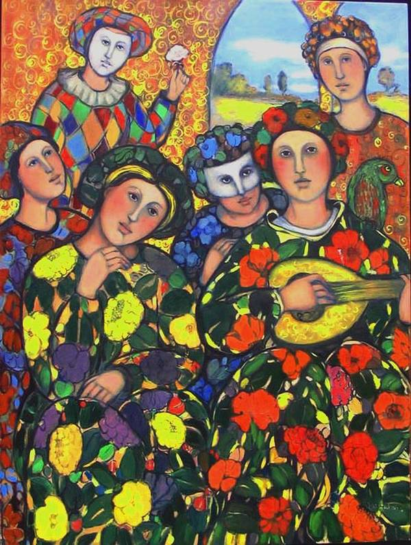Art Print featuring the painting Mardis Gras by Marilene Sawaf