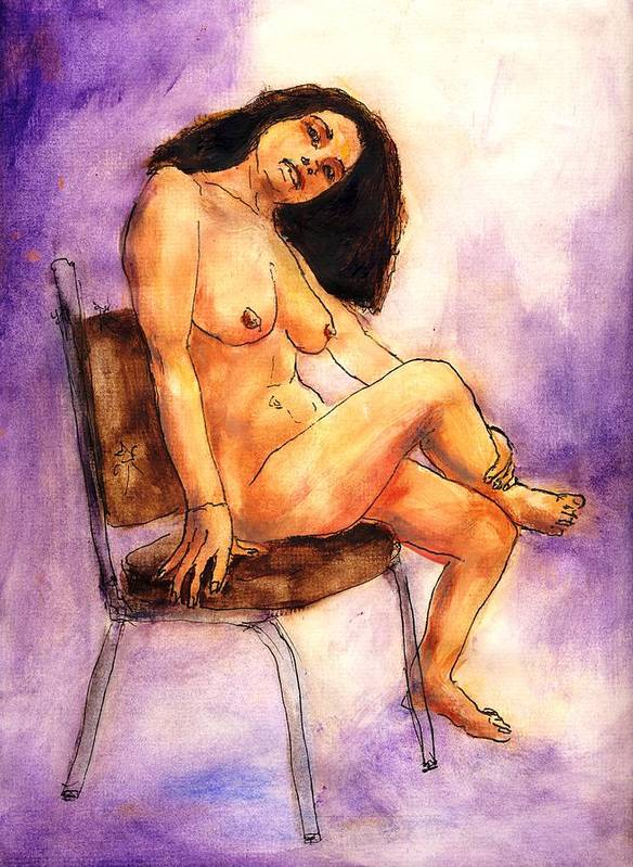 Nude Art Print featuring the painting Nude Maria in Her Chair by Randy Sprout