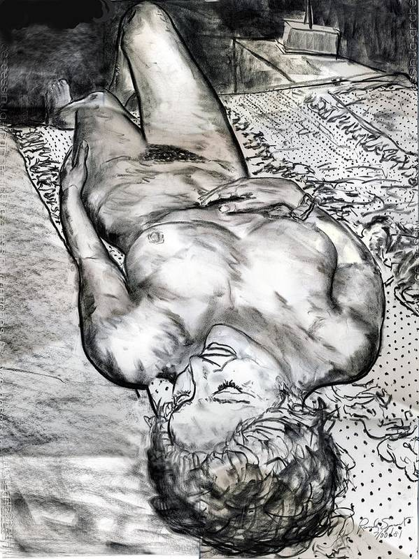 Nude Art Print featuring the drawing Nude Maria on Animal Sheets by Randy Sprout